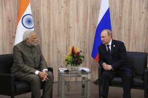 Russia's President Putin meets with India's PM Modi during the BRICS Summit in Fortaleza