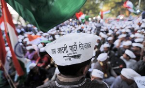 Supporters of Kejriwal leader of the newly formed Aam Aadmi (Common Man) Party attend the first party workers' meeting in New Delhi