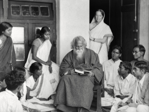 On December 22, 1901, Rabindranath Tagore established an experimental school at Santiniketan with five students (including his eldest son) and an equal number of teachers. He originally named it Brahmacharya Ashram, in the tradition of ancient forest hermitages called tapoban.